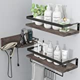LYNNC 3 in 1 Rustic Floating Shelves, Decorative Storage Shelves with Towel Bar, Wall Mounted Shelves Holder for Bathroom, Ki
