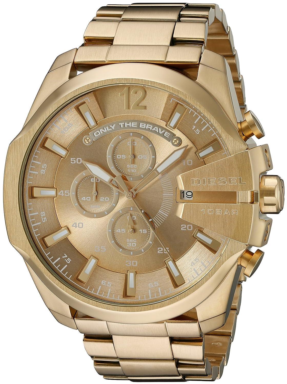 amazon com diesel men s dz4360 mega chief gold watch diesel watches