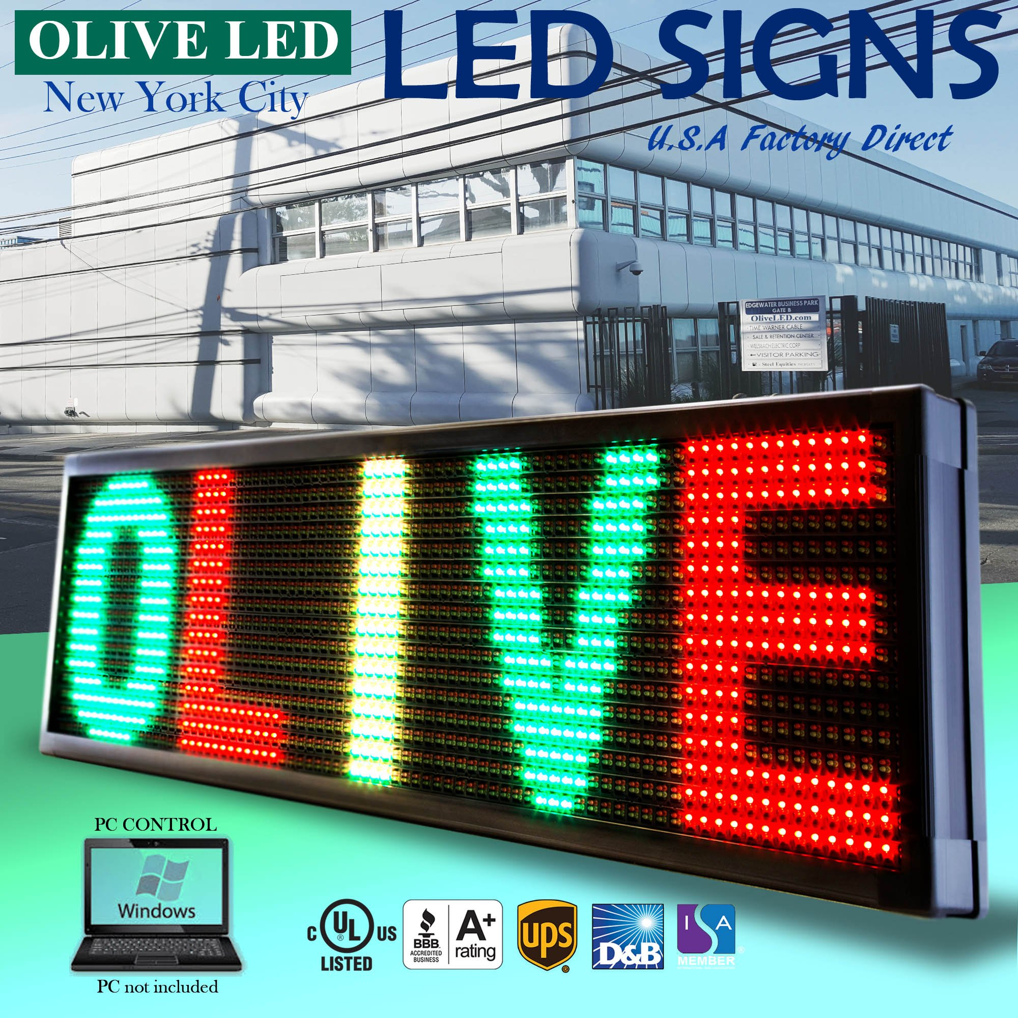 OLIVE LED Sign 3Color RGY, P30, 22''x79'' PC Programmable Scrolling Outdoor Message Display Signs EMC - Industrial Grade Business Ad machine.