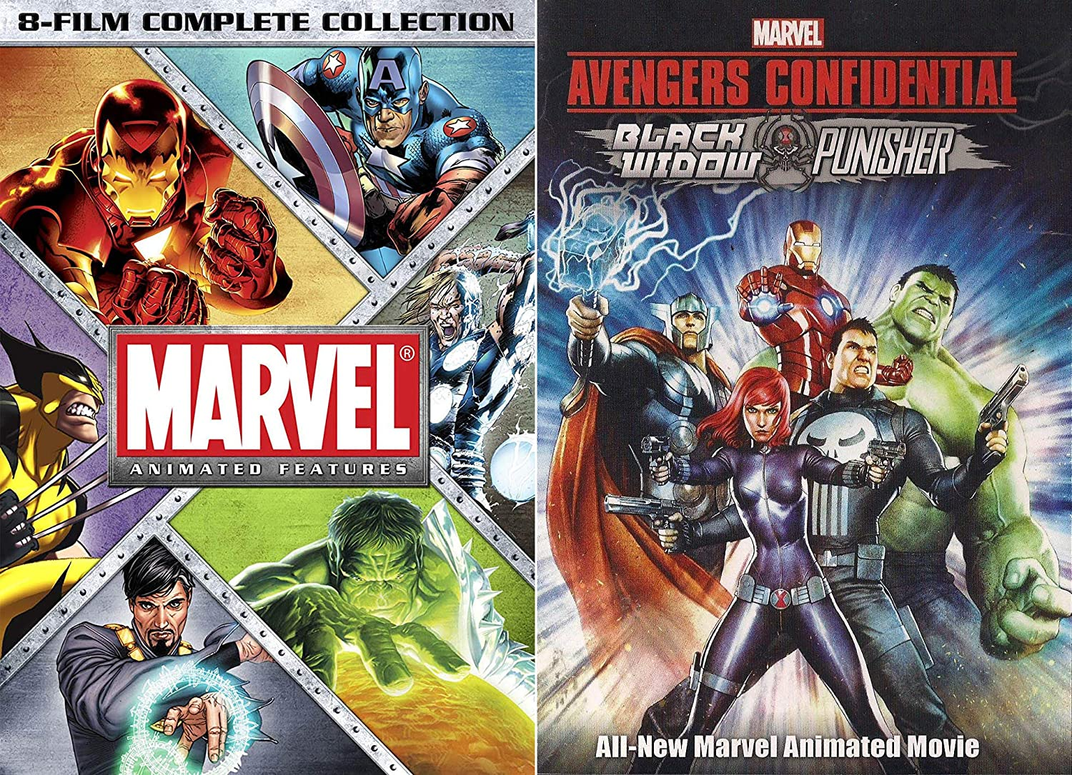 Marvel Knights 9 Animated Full Feature Bundle - Marvel Animated Features: 8- Film Complete Collection & Black Widow and Punisher: Avengers Confidential  9- ...