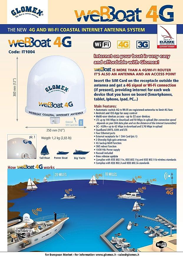 Marine Antenne IT2000 WIFI 3G LTE GSM Empfang von kabellosem Internet /& Telefon