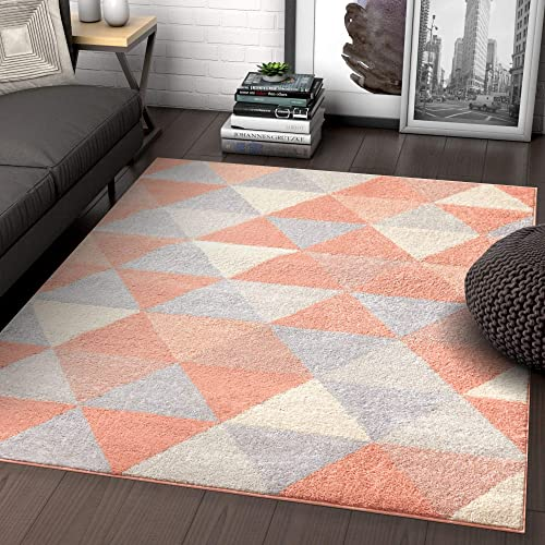 Well Woven Isometry Pink Modern Geometric Triangle Pattern 5×7 5 x 7 Area Rug Soft Shed Free Easy to Clean Stain Resistant