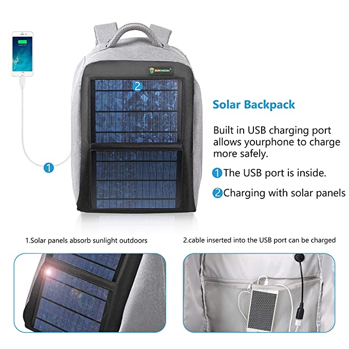 c3b9e2dd2ba0 Amazon.com  SUNKINGDOM Solar Power Backpack Waterproof Anti-Theft Fast  Charging Camping   Hiking Daypack with Highest Solar Panel Charger for Smart  Cell ...