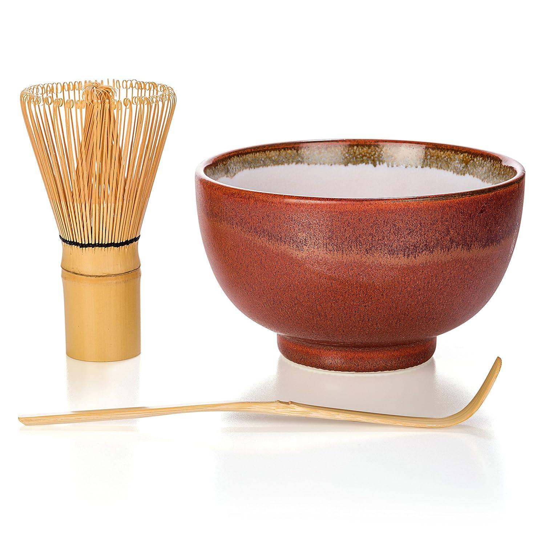 (ティーライラ) Tealyra抹茶スタートキット 抹茶グリーンティーギフトセット日本製茶碗と竹のお茶立てとさじ付き ギフトボックス入り レッド B013MEKNR0 レッド|3 レッド