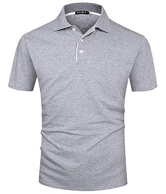 528eebe5867bee Kuson Herren Poloshirt Kurzarm Patchwork Sommer T-Shirt Men s Polo Shirt  Baumwolle Grau S