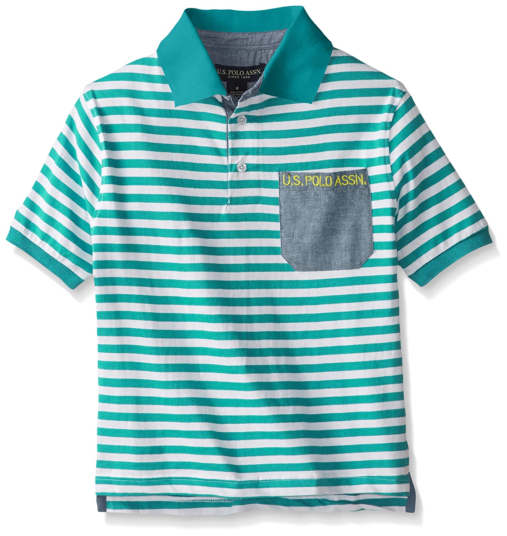 Polo Assn U.S Big Boys Striped Jersey Polo Shirt with Pocket US Polo Association Boys 8-20 HA77