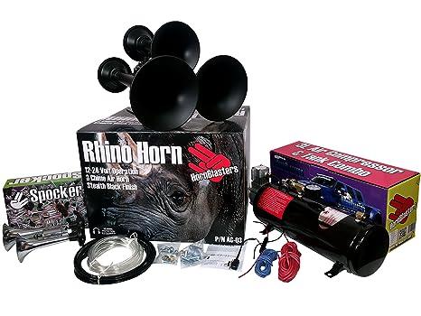 hornblasters Crazy Loud Pequeño y compacto 2 Trompeta spocker, 3 Trompeta Rhino, y 3