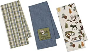 Lake Kitchen Towels Set   Welcome to Our Lake House, Woodland Goose, Moose, Fish Decor Theme Print   3 Towel Set for Dish and Hand Drying