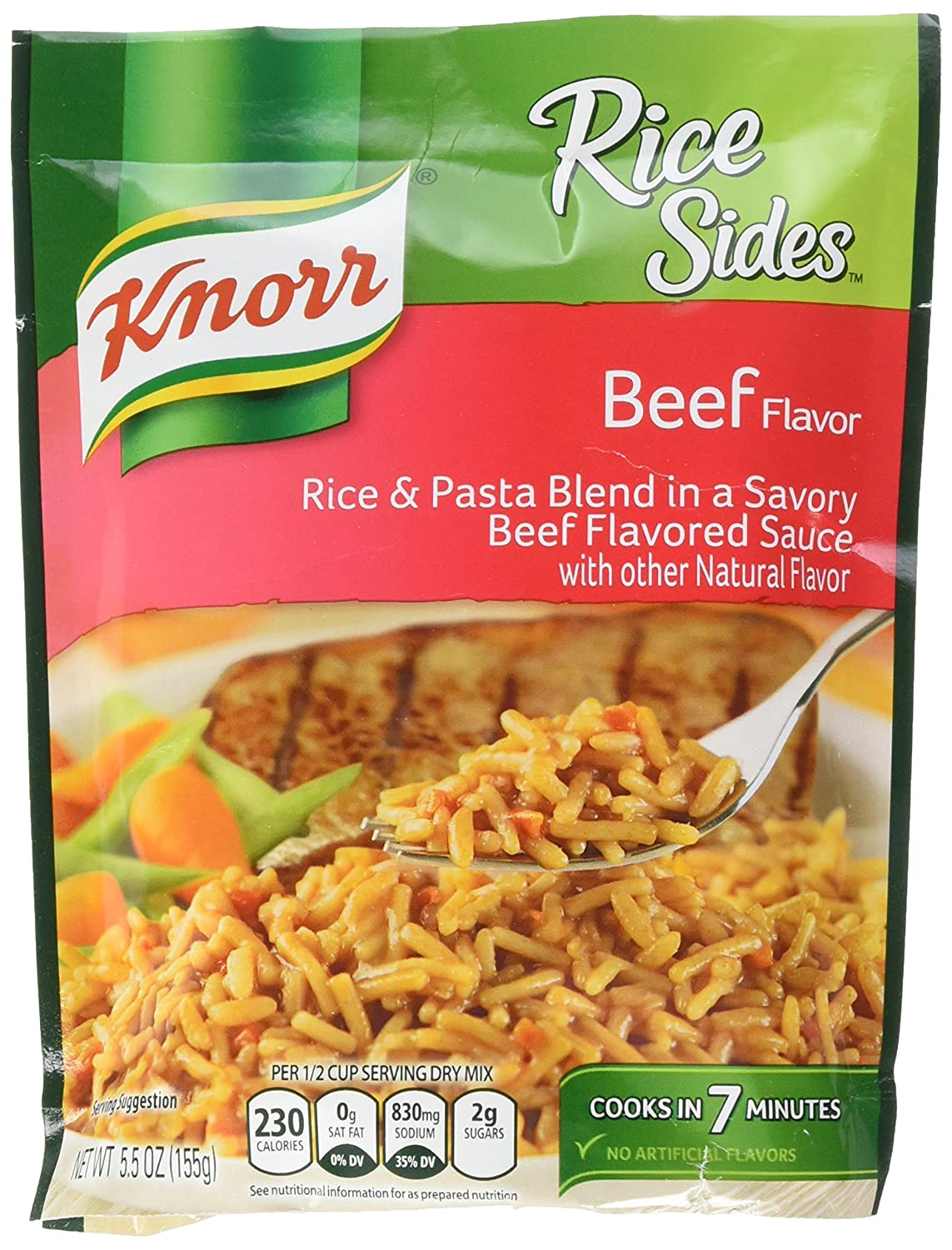 Amazon Com Knorr Rice Sides For Delicious And Easy Rice Meals Beef No Artificial Flavors No Colors From Artificial Sources No Added Msg 5 5 Oz Pack Of 8 Grocery Gourmet Food