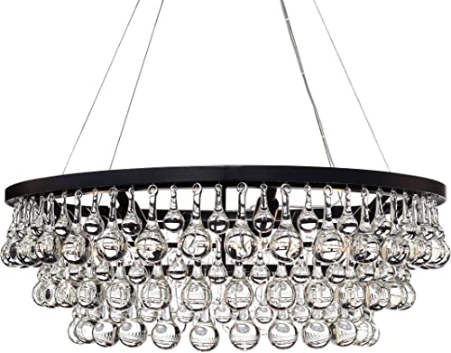 Celeste Glass Drop Crystal Chandelier, Black, Small