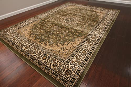 Feraghan New City Traditional Isfahan Wool Persian Area Rug, 4 Round, Sage Green