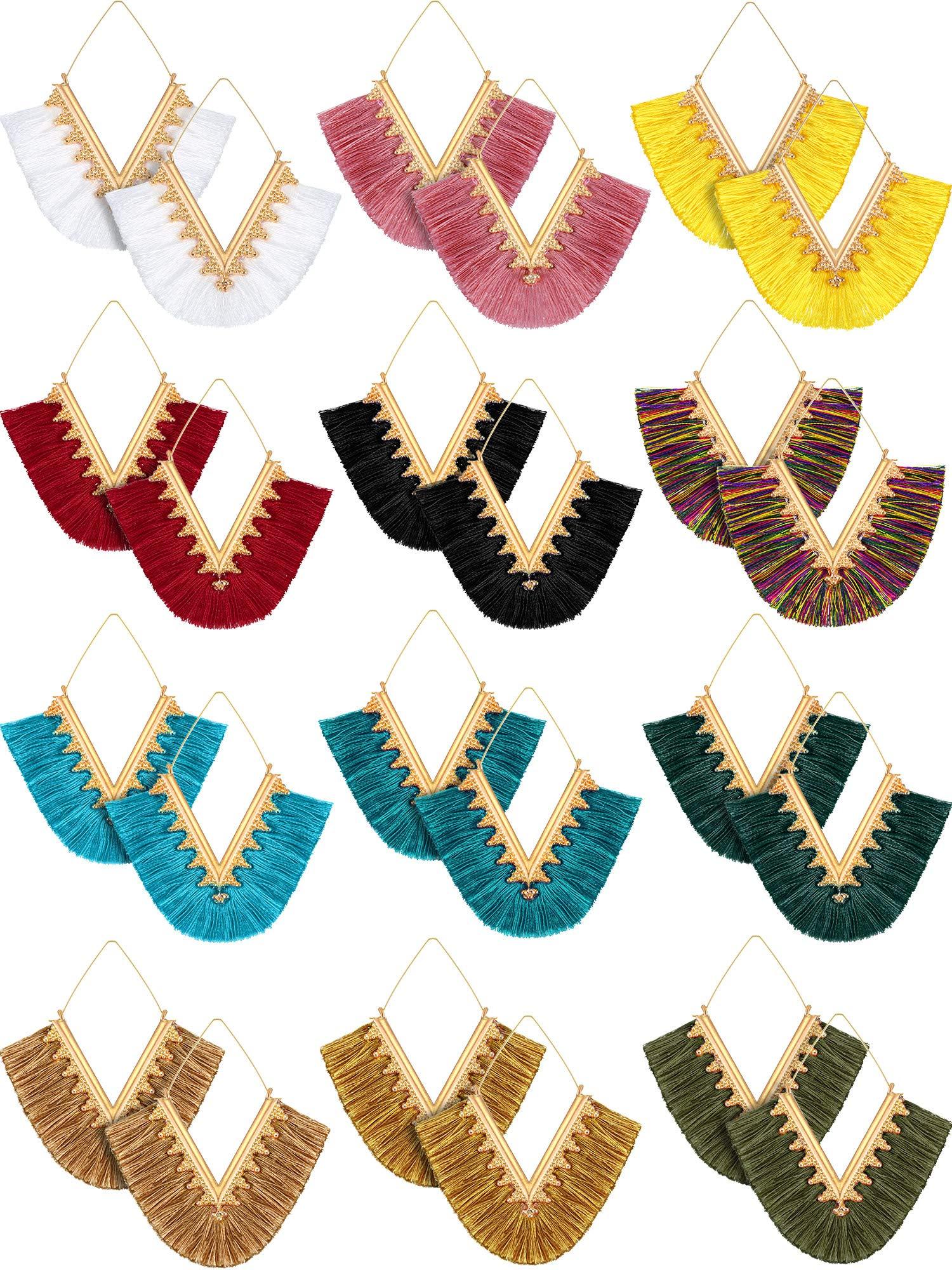 12 Pairs Statement Tassel Earrings Hoop Tassel Earrings Bohemian Geometric Handmade Triangle Earrings for Women Girls (Style 1) by Hicarer