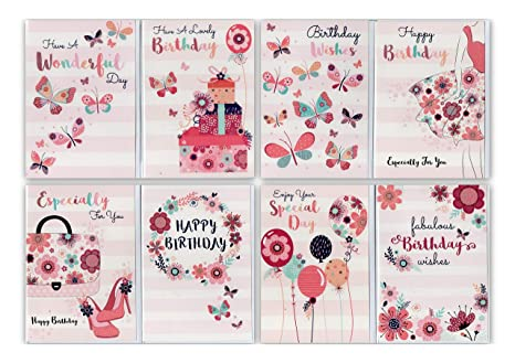 12 Assorted Delicate Lady Artistic Design Birthday Cards Greetingles Mixed Pack Butterflies Flowers Amazoncouk Kitchen Home