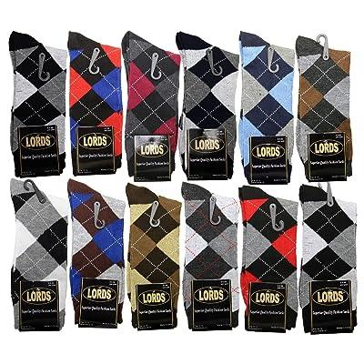 12 Pairs LORDS Mens Argyle Dress Socks Fashion Casual Cotton Dozen Size 10-13
