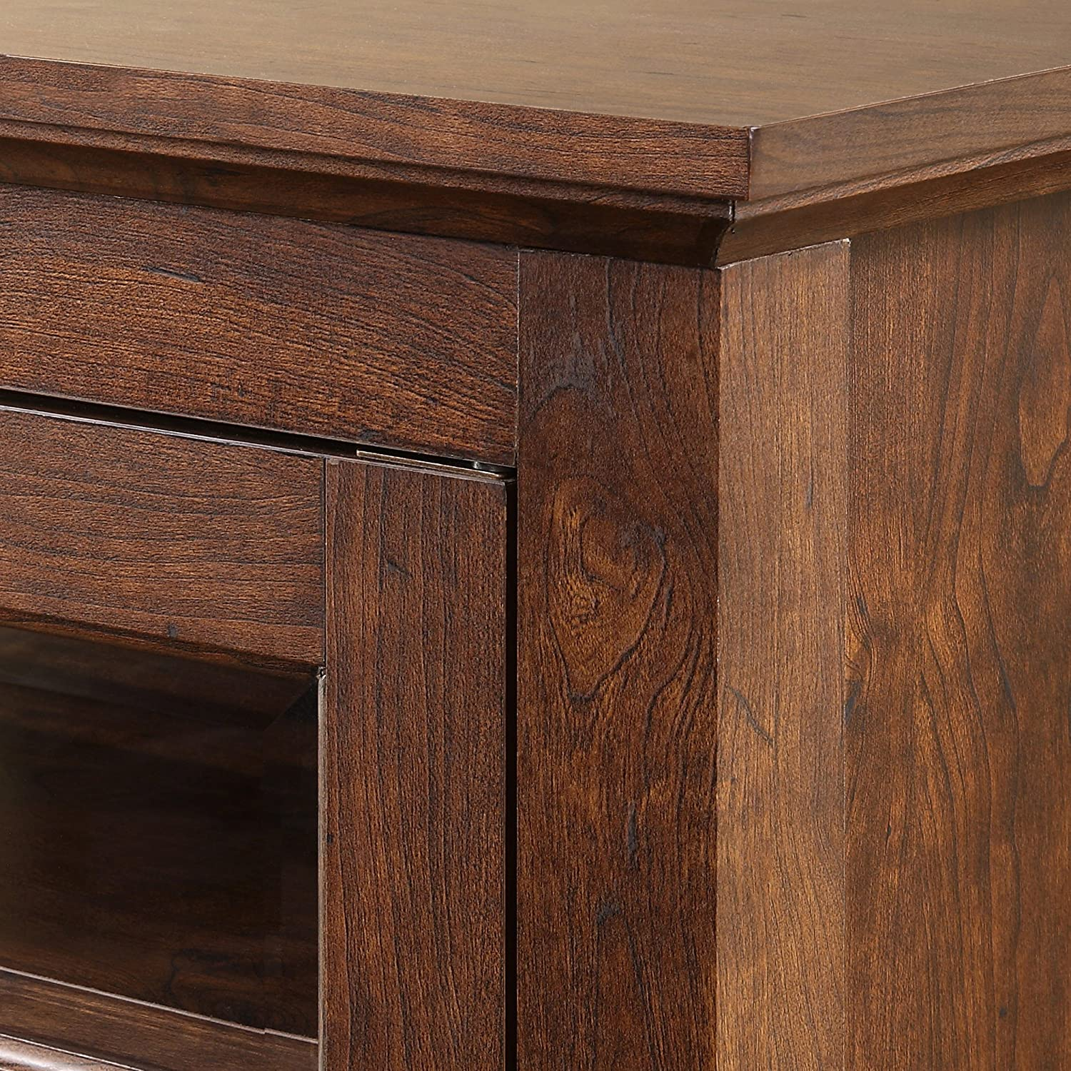Walker Edison Furniture Company Modern Farmhouse Wood Corner Universal Stand for TVs up to 50 Flat Screen Living Room Storage Entertainment Center Barnwood Brown