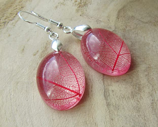8448ab0462e624 Amazon.com: red leaf earrings, real leaf jewelry, resin earrings ...