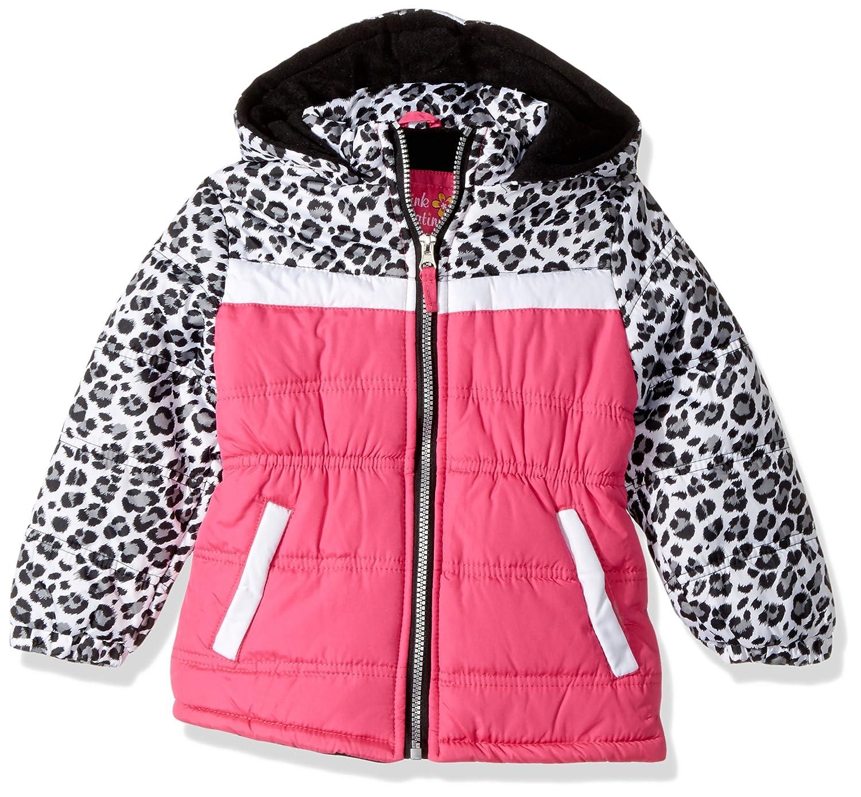 Pink Platinum Girls' Colorblock Animal Print Puffer 94492