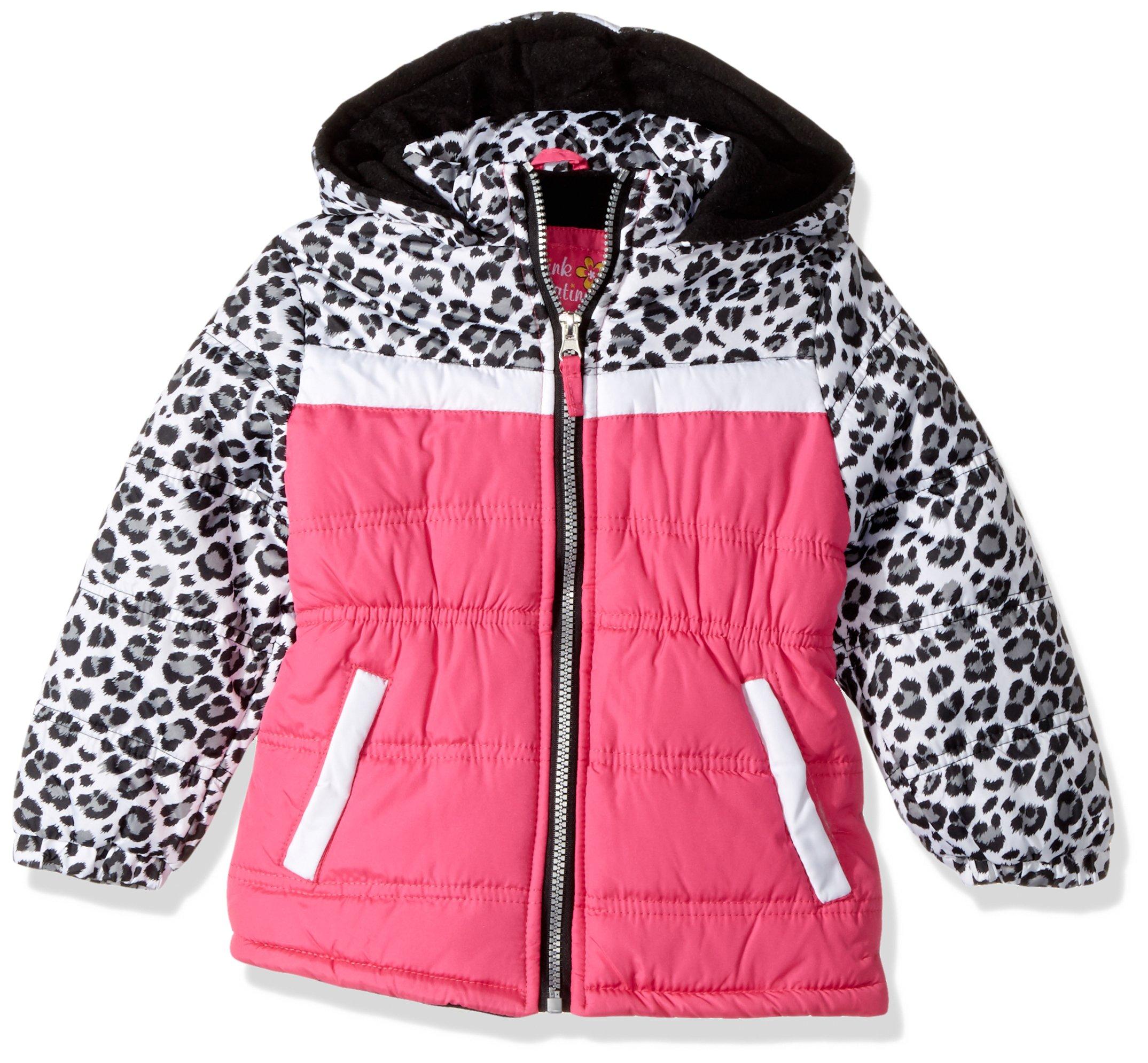 Pink Platinum Girls' Toddler Colorblock Animal Print Puffer Glow, 2T