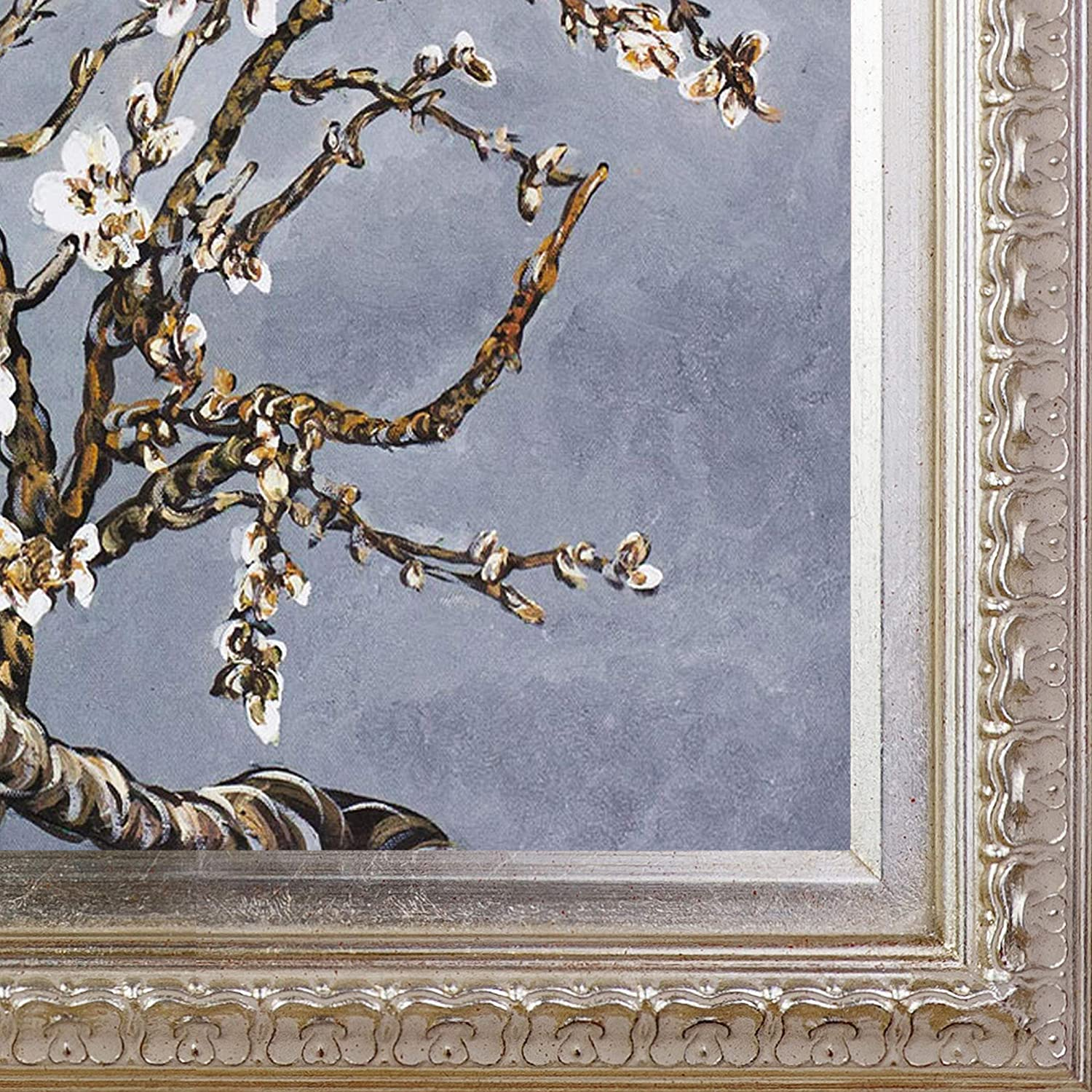 La Pastiche VG2720-FR-7870S20X24 Almond Tree In Blossom Pearl Grey Framed Hand Painted Original Artwork with Elegant Champagne Frame