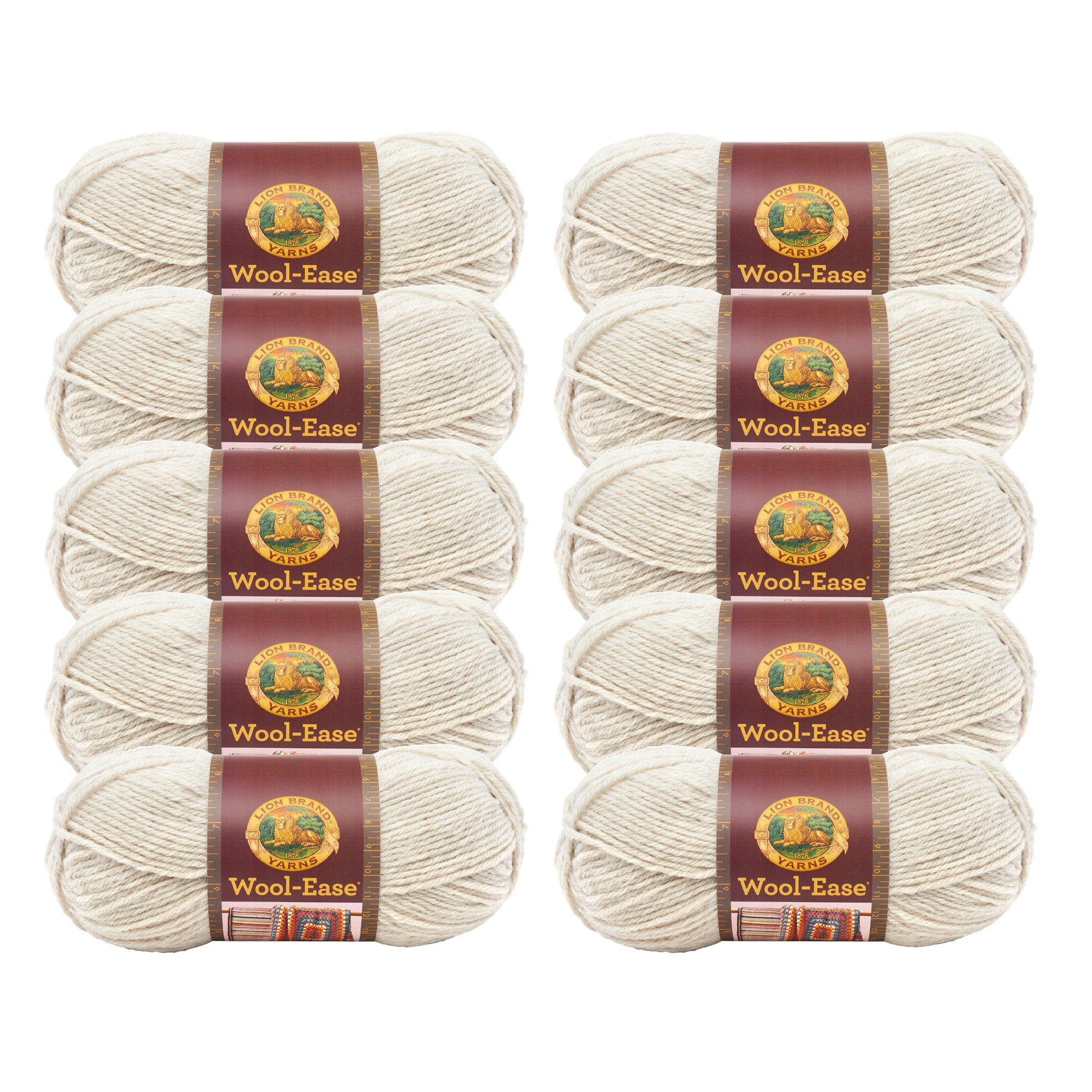 (10 Pack) Lion Brand Yarn 620-098 Wool-Ease Yarn, Natural Heather