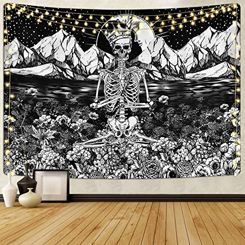 Skull Floral Tapestry Meditation Skeleton Tapestries Mountain Wave Tapestry Moon and Star Tarot Tapestry Starry Black and White Tapestry 70.9 x 92.5 inches