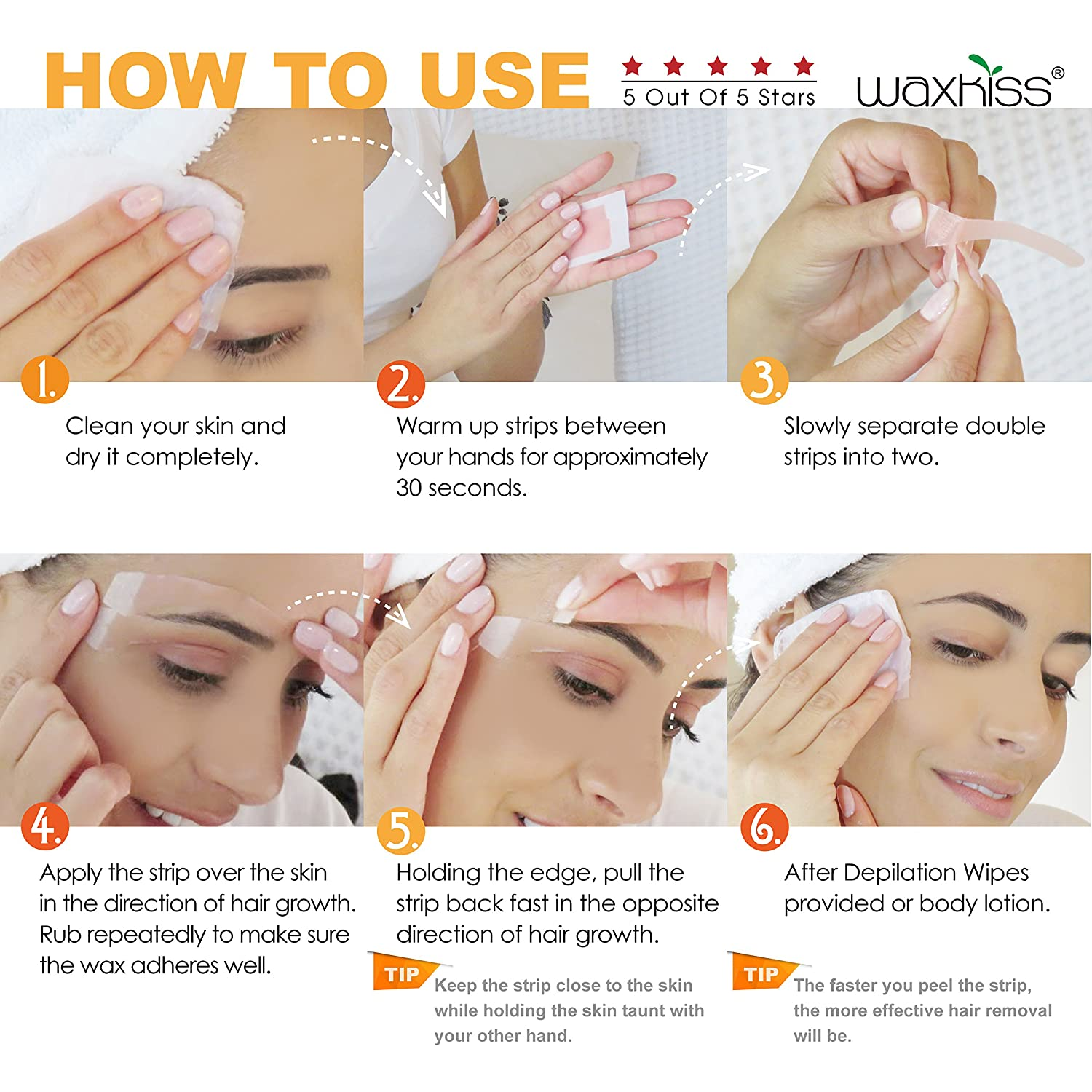 Amazon Waxkiss Eyebrows Waxing Strips Cold Wax Strip With Fda