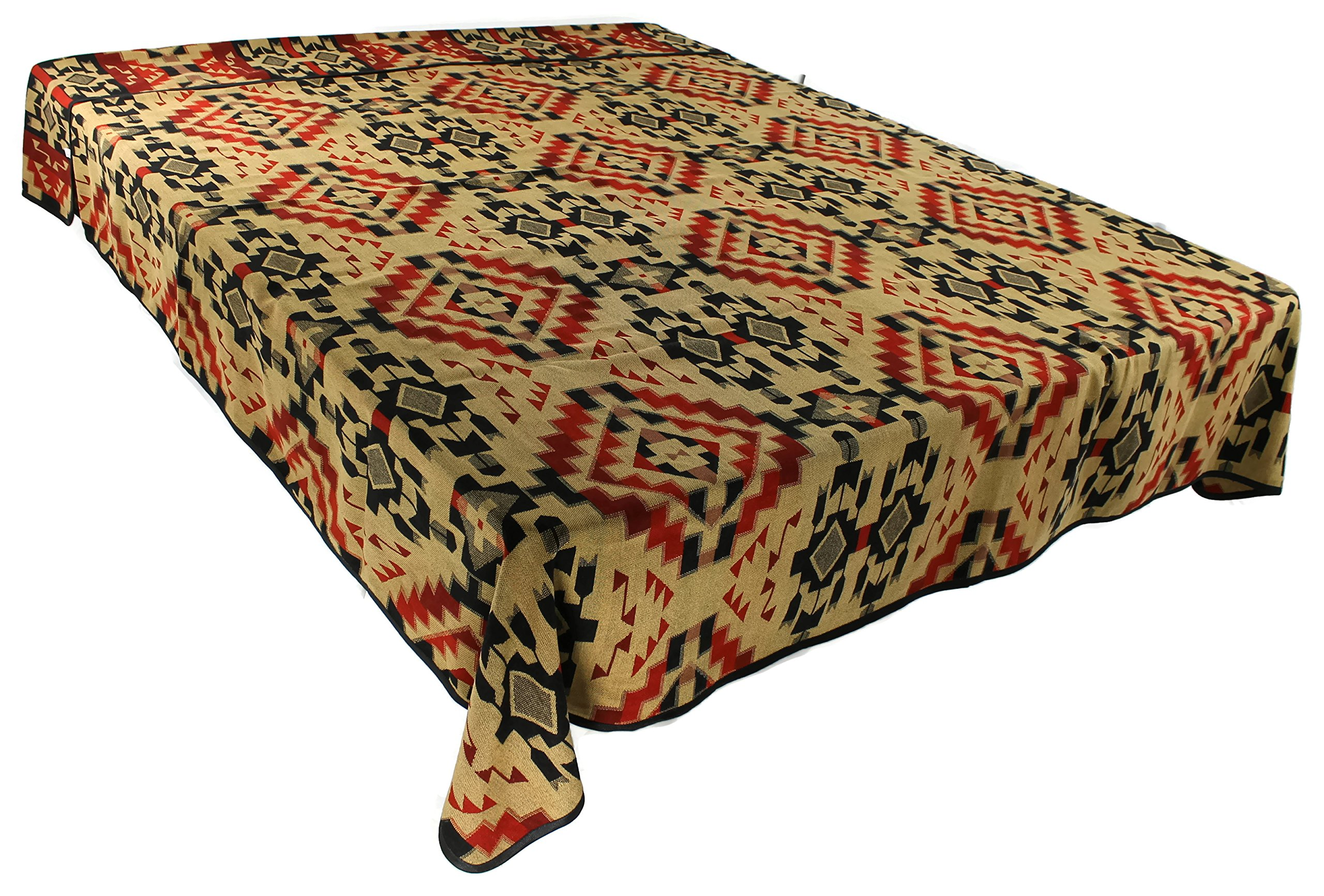 """Splendid Exchange Southwestern Bedding """"Diamond Star Collection"""", Mix and Match, King Size Reversible Bedspread, Diamond Tan and Red"""
