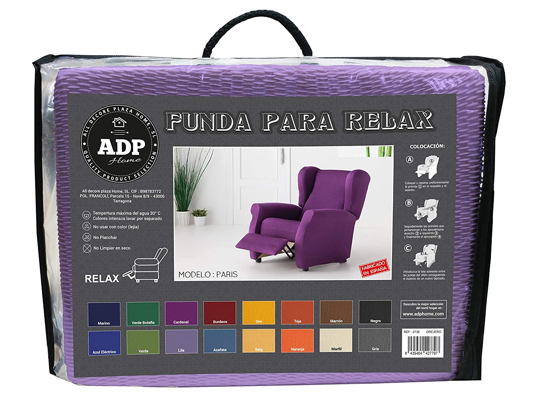 ADP Home - Funda de Sillón Relax, Protector de Alta Elasticidad de 1 Plaza (de 70 a 110 cm), Lila