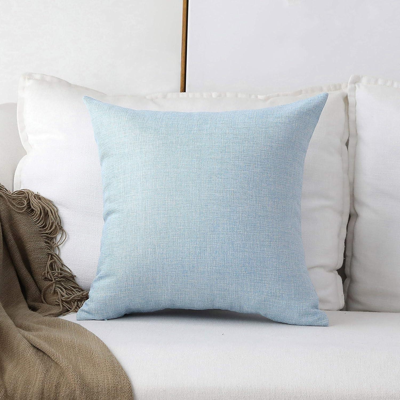 Home Brilliant Linen European Pillowcase Large Cushion Cover for Patio Floor Garden, 24x24(60x60cm), Light Blue