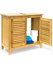 Relaxdays Armario de madera de bambú LAMELL, 60 x 67 x 30 cm de un