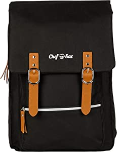 Chef Knife Bag Vintage Backpack | 30+ Pockets for Knives & Kitchen Utensils Tools | Large Pockets for Tablets & Notebooks | Great Gift for Executive Chefs & Culinary Students (Black)