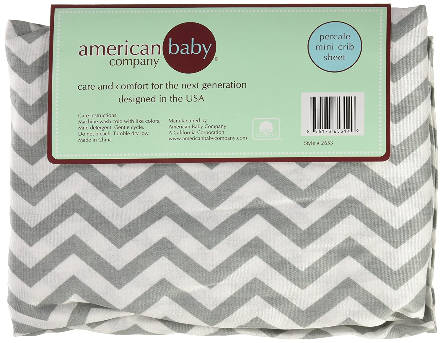 American Baby Company Fitted Portable//Mini Crib Sheet Soft Breathable Grey Zigzag for Boys and Girls 100/% Natural Cotton Percale