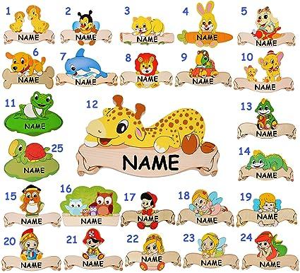 Holz - Namensschild / Wandbild / Türschild - Baby Engel - incl. Namen -  selbstklebend - für Kinderzimmer / oder Haustier Hundehütte - Tiere für  Kinder ...