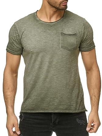 950c1326b073eb Megastyl Herren Oberteil T-Shirt Acid-Washed Brusttasche Oliv Rosa Grau  Slim Fit  Amazon.de  Bekleidung