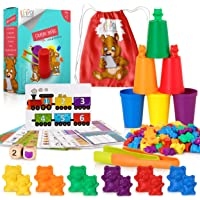 KipiPol Rainbow Counting Bears for Toddlers w Matching Sorting Cups – Number & Color Recognition Game – Educational Toys…