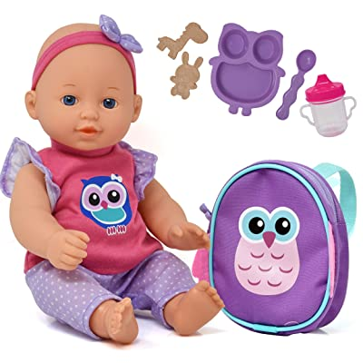 Baby Doll with Backpack Carrier, Doll Feeding Set Accessories, 12 Inch Doll with Baby Bottle and Mini Doll Backpack, Unicorn Owl Styles May Vary: Toys & Games