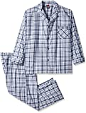 Hanes Men's Woven Plain-Weave Pajama Set, Grey/White Plaid, 5X