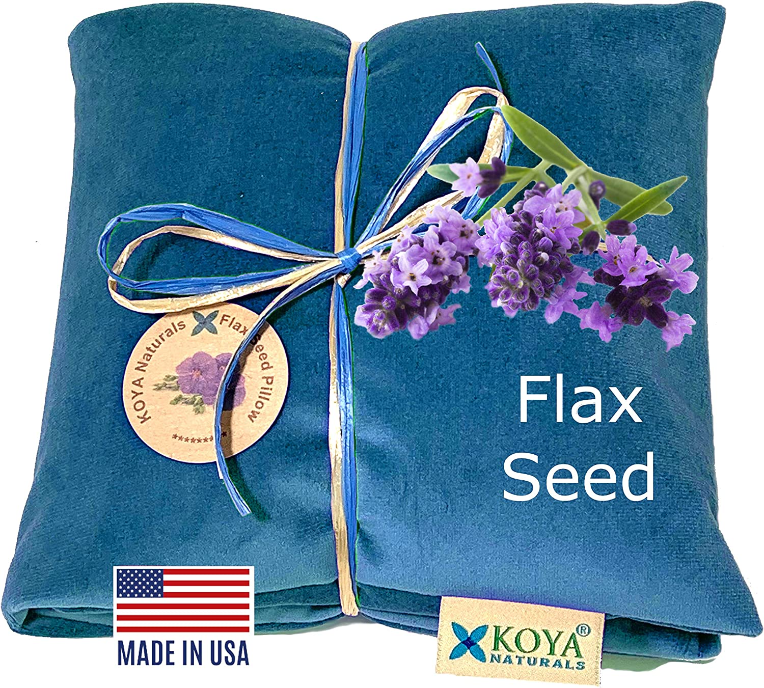KOYA Naturals Flax Seed Pillow with Lavender – Microwavable Heating Pad for Neck, Muscle, Joint, Stomach Pain, Menstrual Cramp - Made in USA (Turquoise, Scented)