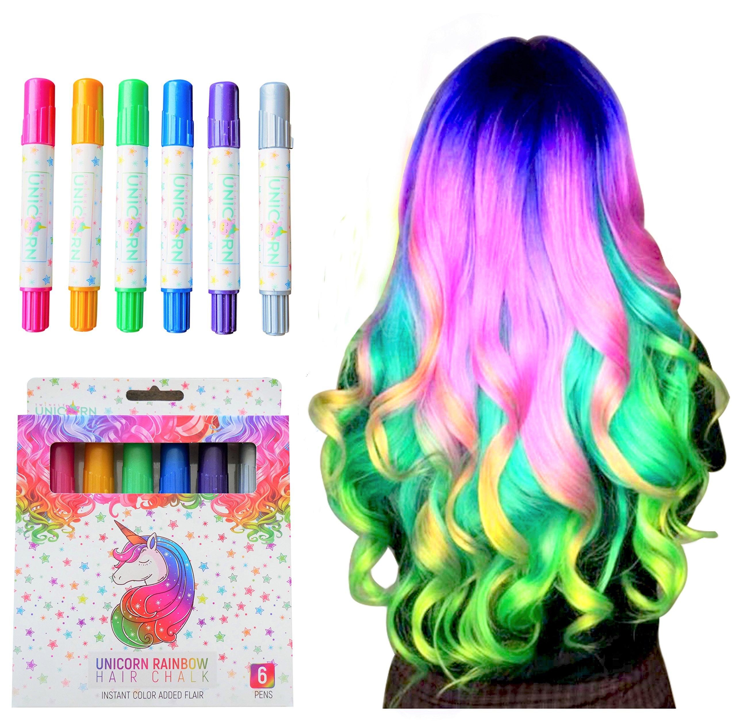 Girls Hair Chalk, Rainbow Hair Chalk, Unicorn Hair Chalk Pens by Twinkle Unicorn