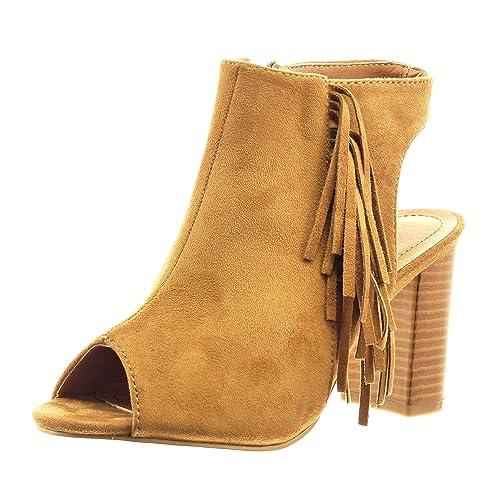 Sopily - Zapatillas de Moda Sandalias Botines abierto Tobillo mujer fleco Talón Tacón ancho alto 8 CM - Camel CMD-4-F152 T 39: Amazon.es: Zapatos y ...