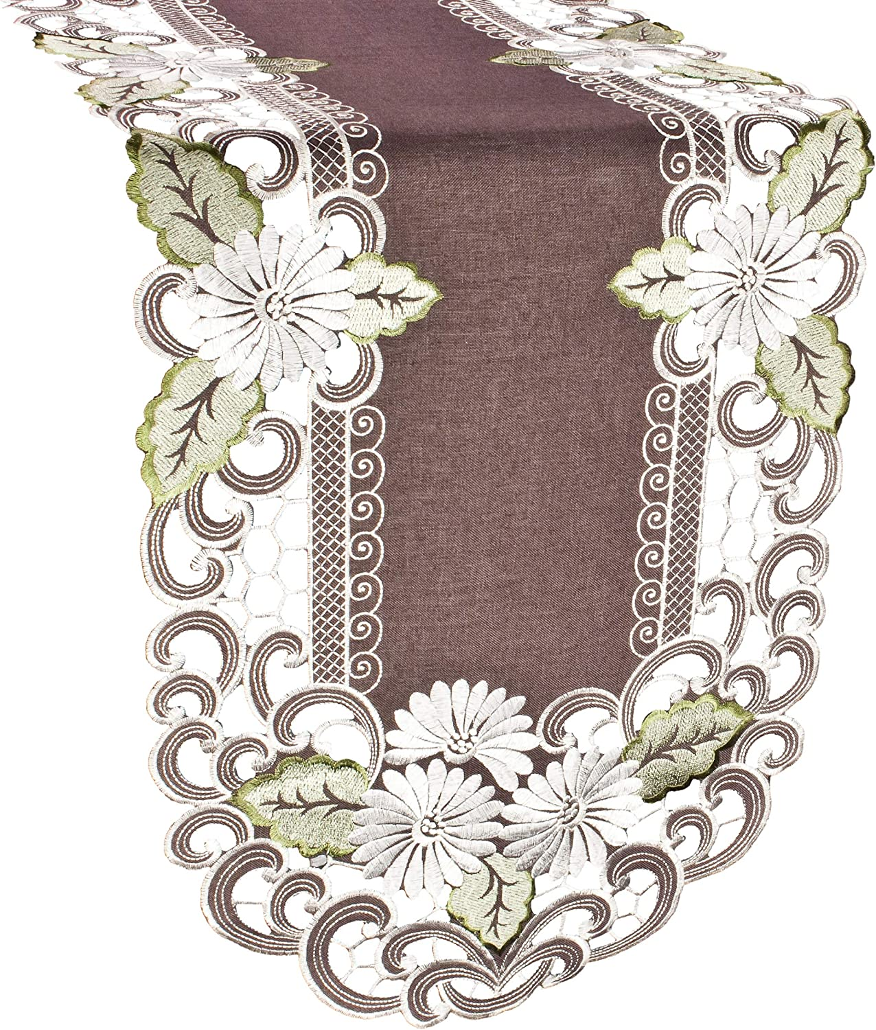 Linens, Art and Things Embroidered Table Runner with Daisy Flowers on Brown, 15 by 53 Inch, Machine Wash, Coffee Table Runner, Dresser Scarf, Doily