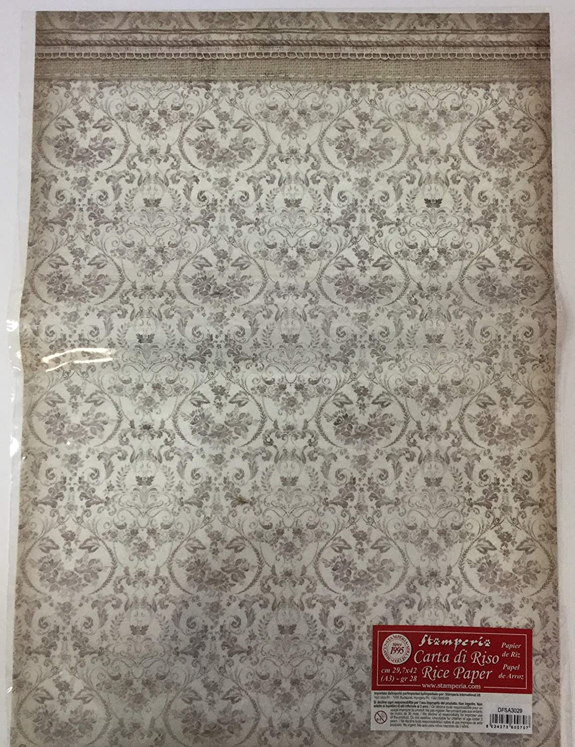 Amazon.com: Stamperia A3 Rice Paper Packed Framed Wallpaper