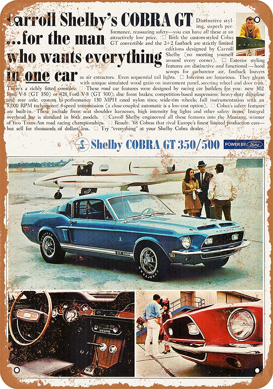 1968 Cobra Ford Mustang Shelby GT 350//500 samfme de Metal Sign
