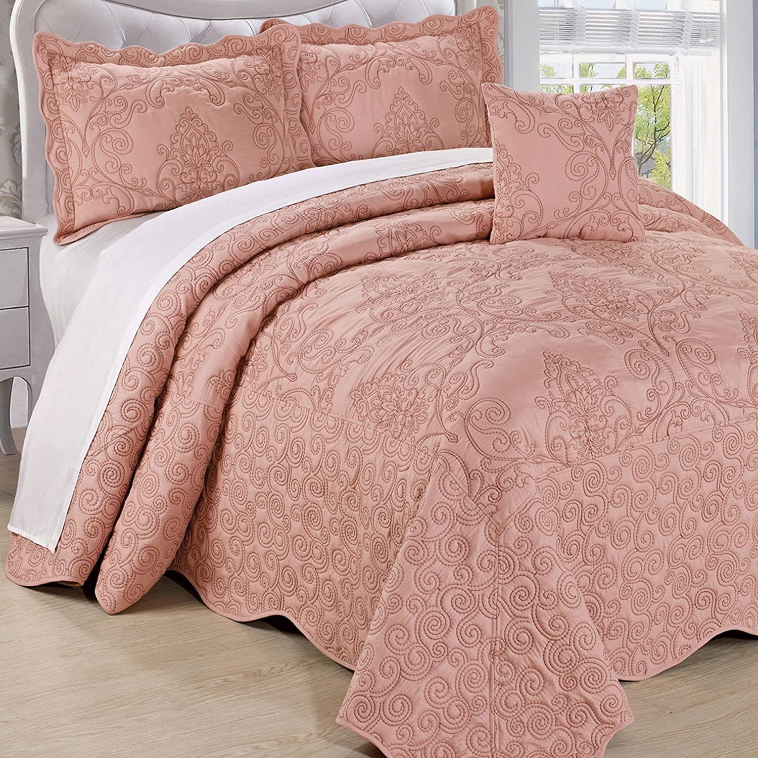 "Home Soft Things Damask Bedspread, Oversize King (120"" x 120""), Dusty Pink"