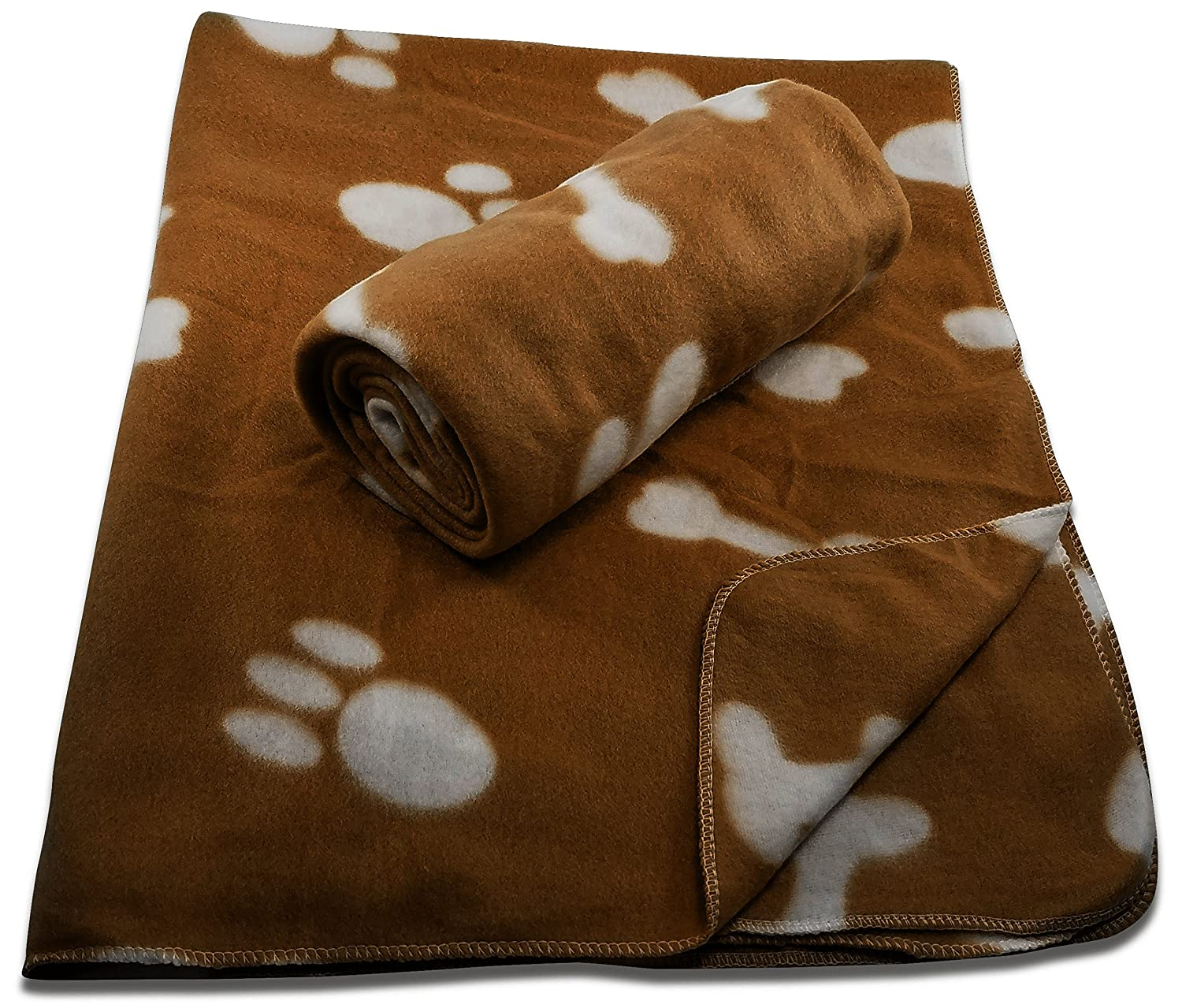 38 x 30 Inch Dog Blanket with Paw Print and Bones Pattern by FIDO Care (Set of 2 Fleece)