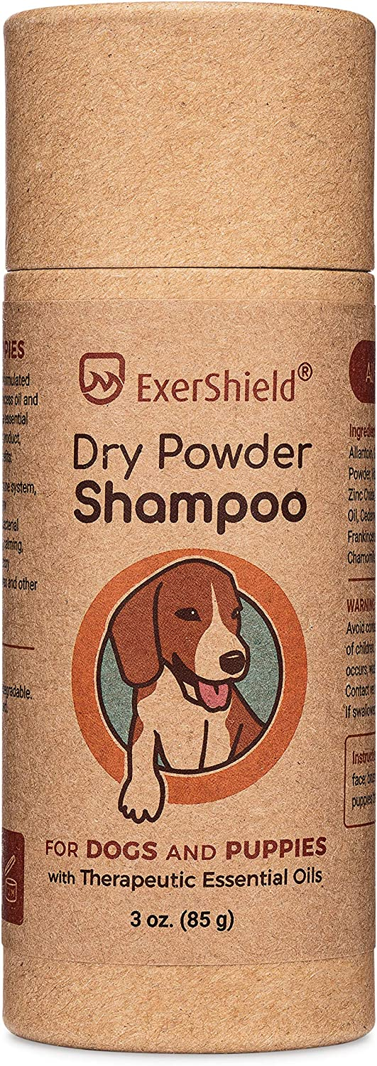 Dog Dry Shampoo - powder formula that contains therapeutic essential oils. Waterless pet shampoo - freshen smelly dogs, anxious dogs.