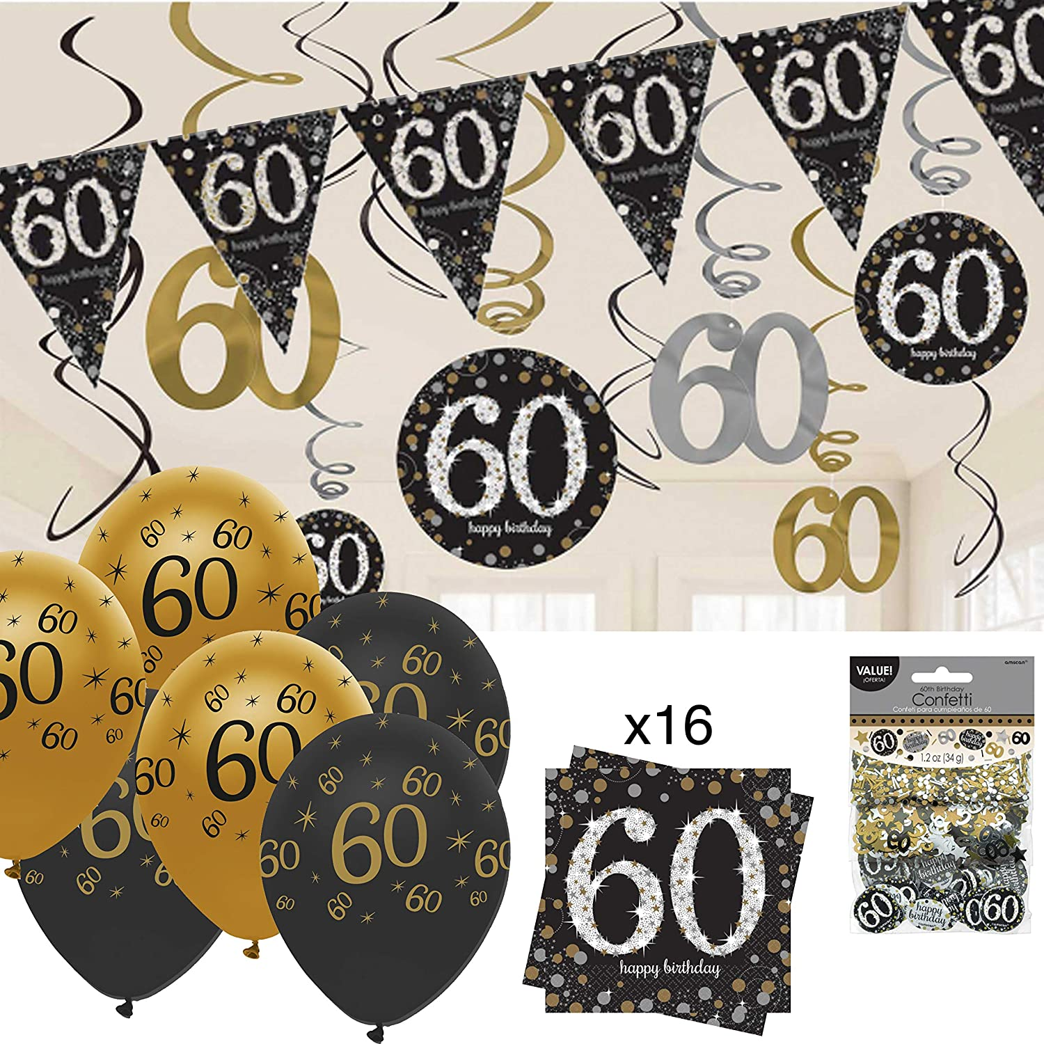 16 x Back Silver /& Gold 60 Napkins 33cm 60th Birthday Party Tableware Supplies