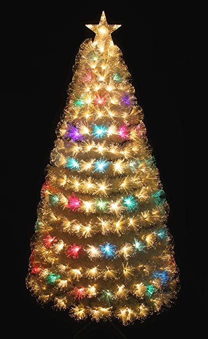 holiday stuff pre lit warm white color changing led fiber optic white christmas tree