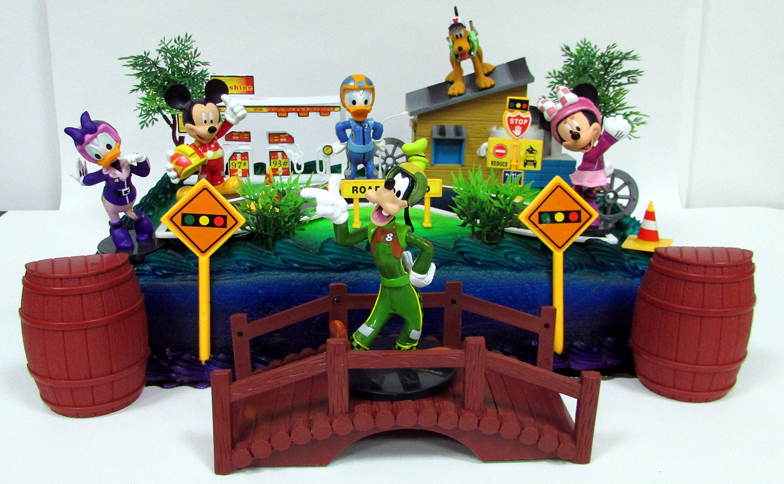 Mickey Mouse Clubhouse MICKEY AND THE ROADSTER RACERS Birthday Cake Topper Set Featuring Figures and Decorative Accessories