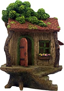 "PRETMANNS Fairy Garden House – Large Fairy Tree House with a Door That Opens – 9"" High - Fairy Garden Supplies"